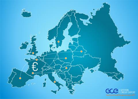 Europe map and debt collection in Europe